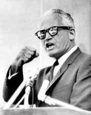 Barry Goldwater, delivering a hortatory speech